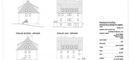 Stavební úpravy penzionu Potočná, obec Perštejn (Chomutov)