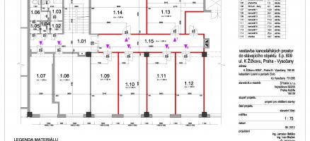 Stavební úpravy a změna užívání stavby na kancelářské prostory, Praha Vysočany