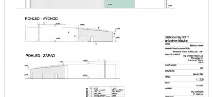 Přístavba typové ocelové haly ke stávajícímu objektu, Milovice (Nymburk)